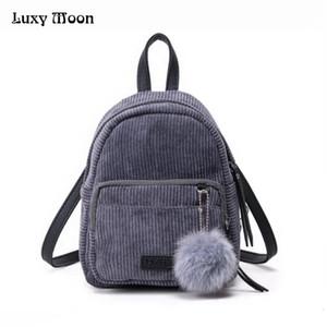 Großhandels-Mädchen-Rucksack-kleiner Minirucksack-kleine Frauen-Schulter-Beutel-Pelz-Ball-einfarbige Cord-Rückseiten-Rucksack-Samt-Schultasche ZD556