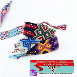Handmade Woven Rope String Rainbow Silk Embroidery Cotton Friendship Bracelets For Women And Men