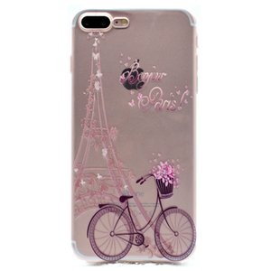 Cubierta transparente de TPU para Apple iPhone 7 Plus Funda Fashion Tower bike Butterfly Girl Feather Diseño Fundas para teléfono móvil para iPhone 8 Plus