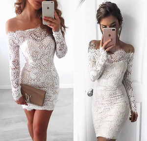2017 New Elegante Off the Shoulder completa Lace Curto Cocktail Vestidos mangas compridas Mini Vestidos Homecoming Meninas baratos Partido Vestidos