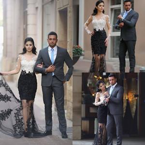 Белые и черные вечерние платья без рукавов с длинным рукавом Пром платья с кружевной аппликацией назад молния на заказ вечерние платья