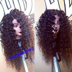 """Glueless Peruca Dianteira Do Laço Marrom / Preto Preto Mulheres Preto Kinky Curly Lace Wigs Resistente Ao Calor Perucas de Cabelo Sintético 24 """"Pic"""