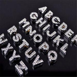 Ciondolo con strass in cristallo con alfabeto strass Lettera Charm DHL 8mm Argento Bling numero dalla A alla Z Cinturino da polso Cinturino Braccialetti Accessori Regalo di Natale