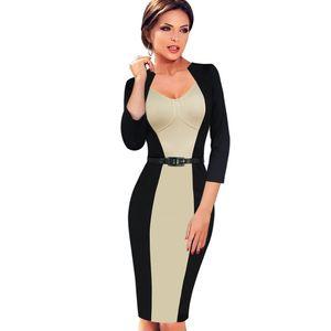 New desi elegante das mulheres de ilusão de ótica emagrecimento modest túnica cinto ocasional patchwork desgaste para trabalhar escritório lápis bainha dress