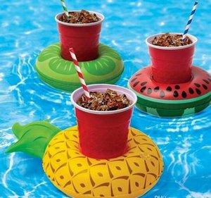 Support de tasse de boisson gonflable de PVC chaud 7 styles Donut Flamingo Pastèque Ananas Citron En Forme de Tapis Flottant Flottant Piscine Jouets