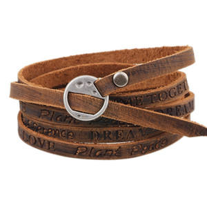 Engrave Multilayer Натуральная кожаная обертка браслет браслет браслет браслет будет мечтать любовь мир желаю вдохновляющего браслета еврейки