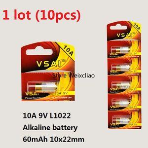 10pcs 1 lot 10A 9V 10A9V 9V10A L1022 pile alcaline sèche Piles 9 Volts remplacent la carte A23L VSAI Livraison gratuite