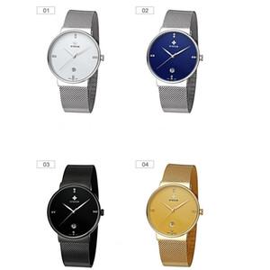 WWOOR 8018 Hombres Reloj de cuarzo con malla de acero inoxidable Reloj de agua al por mayor Calendario de mesa simple Hombres simples