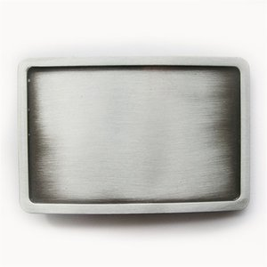 Classic New Antique Brushed Silver Rectangle Blank Belt Buckle Custom Belt Buckle BUCKLE-BL004AS Brand New Free Shipping