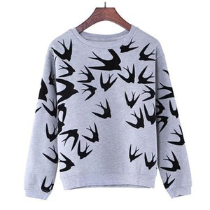 Wholesale- 2016  New Fashion Women Swallow Printing Long Sleeve Sweaters Pullover Tops