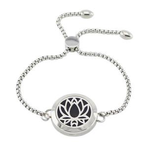 316L Paslanmaz Çelik Difüzör Madalyon Bilezik Ayarlanabilir 25mm Manyetik Lotus şekli parfüm madalyon bilezik zinciri ile