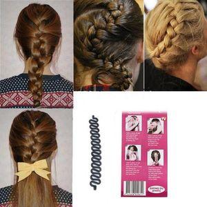 Femmes Lady Français Cheveux Tressage Outil Braider Crochet Rouleau Avec Magique Cheveux Twist Styling Bun Maker Bandeau de Cheveux Accessoires