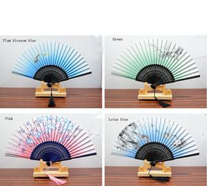 """8.27 """"Mulheres Mão Held Silk Fãs Dobráveis com Moldura de Bambu para Presentes Chinês / Estilo Japonês Borboletas Morning Glory Flores Patt"""