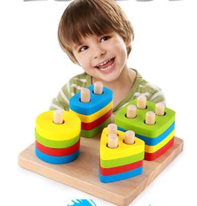 Giocattoli di legno all'ingrosso di fabbrica fantasia giocattoli per la prima infanzia in legno montessori sarebbe giocattoli di AIDS Forma geometrica corrispondente blocchi di montaggio