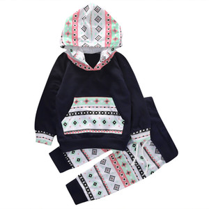 Wholesale- 2016 Autumn style infant clothes baby clothing sets Baby Boys Girls Tops Hoodie+ Long Pants 2PCS Outfits Clothes Set