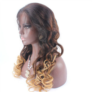 130% density 3 tone Ombre human hair Glueless Full lace wigs and Lace front wigs for black women