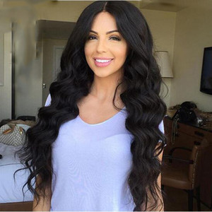 HOT beautiful long loose wave Wig Simulation Human Hair Loose Wave Wigs in stock free shipping
