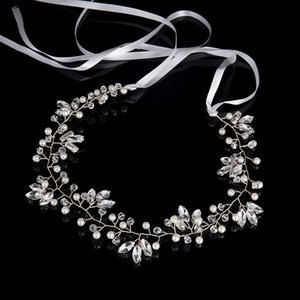 5*43cm Silver Plated Soft Women Hair Jewelry Pageant Bridesmaid Bridal Wedding Hair Accessories Simulated Pearl Rhinestone Hairband Headband