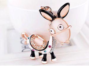 O pequeno burro carro dos desenhos animados chaveiro senhora pingente de opala animal bonito chaveiro para mulheres saco acessórios