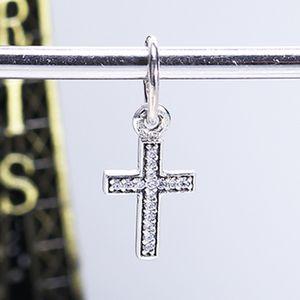 Réel 925 Sterling Argent Non Plaqué Croix Pendentif Charme Zircone Cubique Charmes Européennes Perles Fit Pandora Serpent Chaîne Bracelet DIY Bijoux