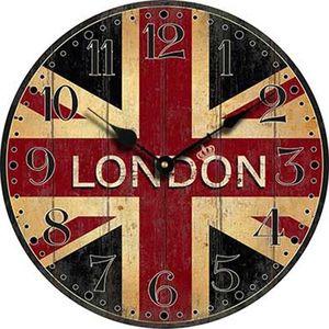 Vente en gros - Londres horloge murale bois drapeau de Londres grande chambre à coucher décorative classique Vintage horloges murales Home Decor salon décoration