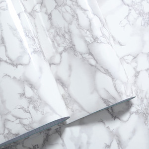 Vente en gros-30cm * 100cm meubles marbre blanc granit gris brillant Autocollantes Décor de film Comptoir de cuisine Accueil Stickers muraux Stickers