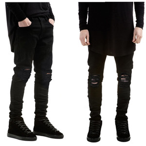 Wholesale-2016 New fashion Brand men black jeans skinny ripped Stretch Slim kanye west hip hop swag denim motorcycle biker pants Jogger