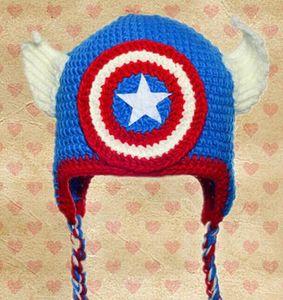 Le Captain America Avengers Superman Spider-man Homme de fer Batman Super Hero Crochet Caps Infant Toddler Chapeau de Noël Enfants Beanie Coton
