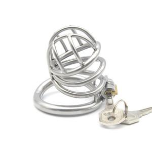 ذكر العفة جهاز منحني الدائري ديك الديك قفص 304 المقاوم للصدأ مع قفل قوس المفاجئة حلقة الجنس لعب الكبار للرجال XCXA226-1