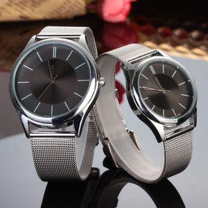 Marca de moda de plata del cuarzo de la venda de acero del metal unisex de los amantes de los hombres de las mujeres del reloj C01