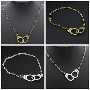 Freedom Engraved Handcuffs Pendant BFF Friendship Necklace / Bracelet Set Vintage Ancient Bronze / Silver Theme catena Clavicola