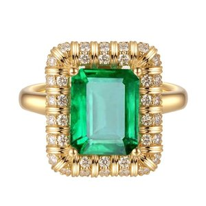 Fine Jewelry Yellow Gold Filled Square Cut Ring 3.26Ct CZ Emerald Vintage Engagement Rings For Women (size 6 7 8 9)