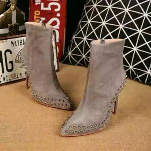 Moda sexy para mujer fondo rojo tacón alto 100 mm botines remache diseñador tacones finos botines cortos zapatos para mujer mujer calzado de invierno