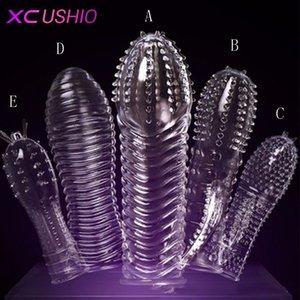 1pc maniche Prodotti Prodotti Anelli di cazzo Testa di cristallo Game Extension Penis Adulto Giocattoli riutilizzabili Tipi dell'uomo per il sesso 5 Solid 0701 KRMPQ