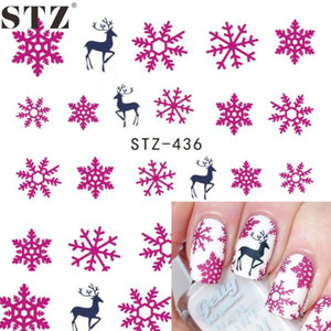 STZ 1 Fogli Decorazioni di Arte Del Chiodo di Natale Acqua Calda Rosa Fascino Fiore di Neve Decalcomanie Deer Sticker per il Nuovo Anno Regalo di natale STZ436
