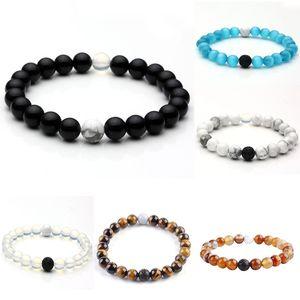 Wholesale New 8mm de energia de energia pulseiras homens mulheres moda pedra lava pedra yoga frisada charme pulseira