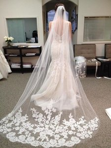 Venda quente 2019 Comprimento Longo Capela De Noiva De Tule Véu De Noiva Com Pente Applique Mais Barato Acessórios De Noiva