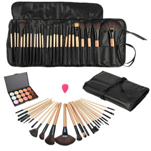 Beauty Essentials Cosméticos Pinceles de maquillaje Conjunto Corrector de rostro Paleta de contorno + 24pcs Pro Make Up Brushes +1 Cosmetic Puff +1 Bag
