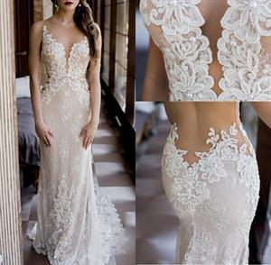 2017 Vestido De Casamento Lindo Design Completo Lace Beading Perals Sem Mangas Sheer Neck Ilusão De Volta Sereia Vestido De Noiva Custom Made