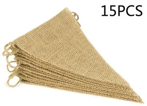 15Pcs Burlap Banner, DIY Decoration for Wedding and Party, 14feet