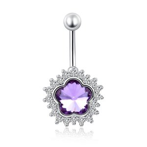 Top Qualité Blanc Or Plaqué Cluster Cristal Clair Blanc / Violet / Rose Cubique Zircone Fleurs Navel Ring Sexy Body Jewelry