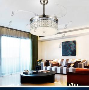 Les fans de lustre de plafond de cristal salon led télécommande contrôle restaurant chambre plafond lustre ventilateur ventilateur invisible lumières