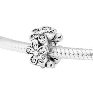 Стерлинг-серебро-шарики ювелирных изделий для изготовления ювелирных изделий DIY Fit Pandora Браслеты PERLAS Подвески Ослепительная Ромашки Spacer Beads BerLoQue