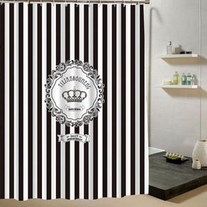 유럽 미국 블랙 화이트 줄무늬 크라운 샤워 커튼 패션 욕실 매달려 커튼 방수 목욕 샤워 커튼 폴리 에스터