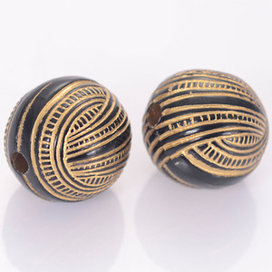 40 Pcs 16mm Striped Round Acrylic Antique Design Beads For Women Diy Bracelet Bangle Jewelry Making Accessories