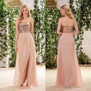 2020 New Jasmin Günstige Brautjungfernkleider Rose GoldPaillette Aufeinander Chiffon Rock Sleeveless eine Linie Junior-Mädchen des Ehrenbrautjungfernkleider
