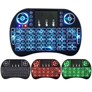 Mini i8 teclado iluminado sem fio 2.4G Fly Air Mouse com iluminação Touchpad Controladores 3 cores remoto para MXQ pro X96 TV Box