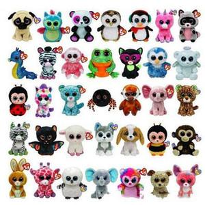 Ty Beanie Boos Big Eyes Pequeño unicornio de peluche de juguete muñeca de Kawaii Los animales de peluche de juguete de Navidad 120pcs regalos CCA5670 para niños