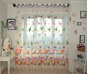 tarama Kelebek iplik rustik romantik tül perde pencere özelleştirme bitmiş ürünler sırf perdeleri kız yatak odası balkon