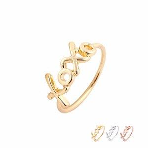 Toptan Komik Mektup Yüzükler XOXO Parmak Yüzük Altın Gümüş Gül Altın Kaplama Kadınlar Için Basit Takı EFR081